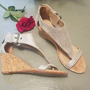 Donald J Pliner silver wedge sandals